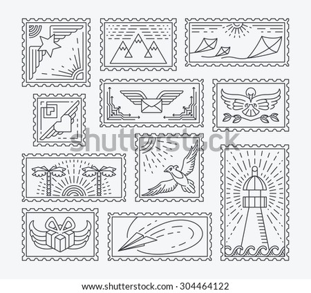 Set of line postage stamps. Isolated monochromatic collection, easy to change color. Empty contour postal decorations for letters and designs.   - stock vector