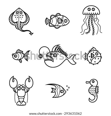Set of line sea animals on white background
