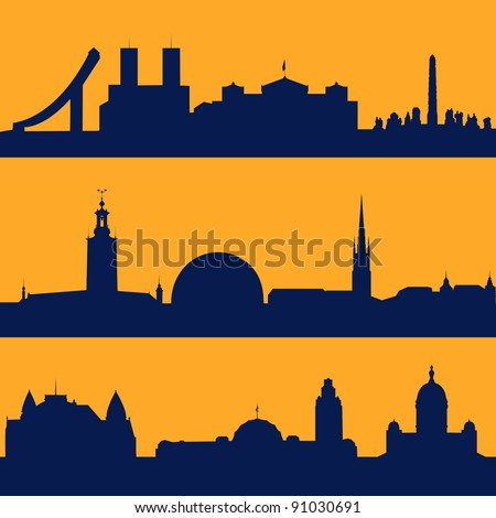 Set of line seamless patterns with  silhouette of Oslo, Stockholm and Helsinki. - stock vector