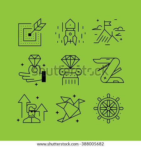 Set of line vectors icons in the flat style.  Management skills, development and self-improvement, management and control, training of the employee. - stock vector