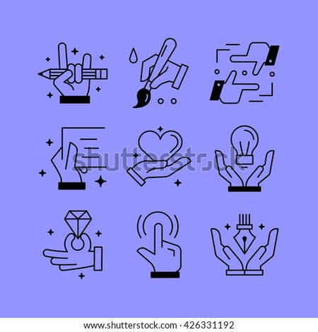 Set of line vectors icons in the flat style. Paintings and drawings, creative tools, hands and creativity. - stock vector