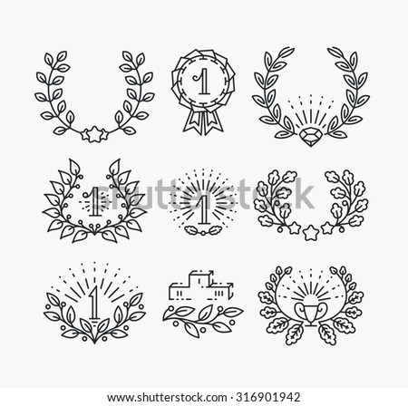 Set of line victory symbols and laurel wreaths. Isolated hipster style winner objects - stock vector