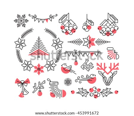 Set of line winter and Christmas icons and decorations, new year isolated two color objects.