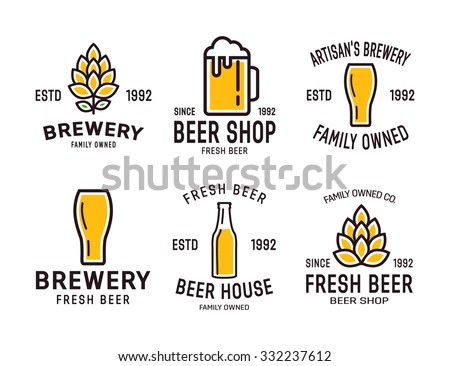 Set of linear brewery logos. Labels with bottles and hops  - stock vector