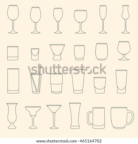 Set of linear drinkware on beige background