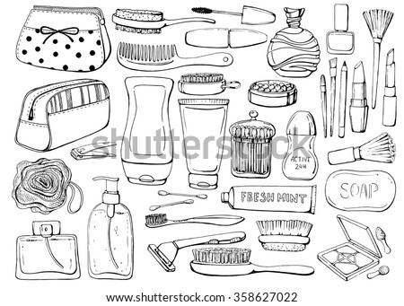 Set of linear hand drawn cosmetics and shower accessories. Cosmetics for washing, gel, lotion, shampoo, wisp of bast, cream, perfume, lipstick, eyeshadow, mascara. Sketch. Health and care. Beauty.