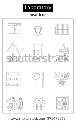 Set Linear Icons Bacteriological Laboratory Inoculation Stock Vector