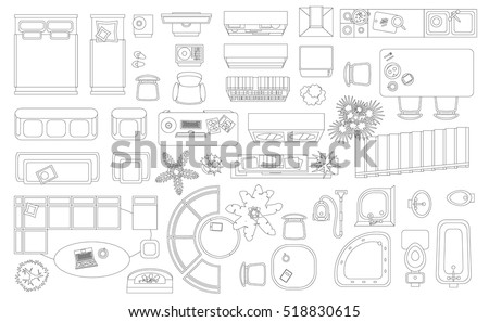 Set Linear Icons Interior Top View Stock Vector 518830615 Shutterstock