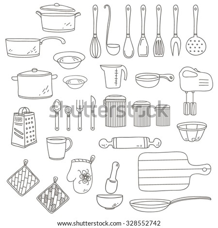 Set of linear kitchen items for cooking eat. Vector isolated doodle illustration on the white background