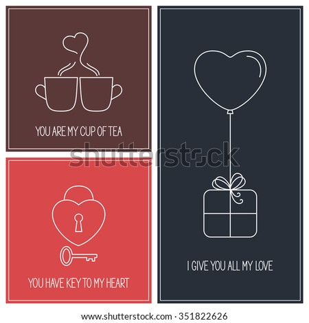 Set of linear style Valentines Day greeting cards and elements