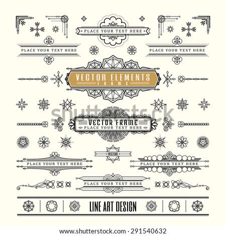 Set of linear thin line art deco retro vintage design frame corner badge in geometric shape - stock vector