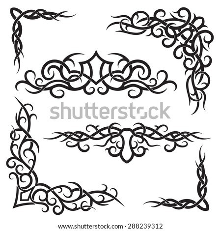 Set of lines vector decorative elements for design. Tribal tattoo in floral style.  - stock vector