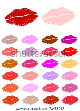 Set of lipstick kisses. Also available as jpeg. - stock vector