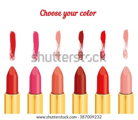 Set of 6 lipstick: red, pink and maroon.  Vector illustration isolated on white background. Choose your color.
