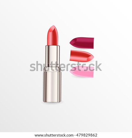 Set of lipsticks isolated on white and gray background. Beauty and cosmetics background. Use for advertising flyer, banner, leaflet, illustration.Template eps 10 vector.