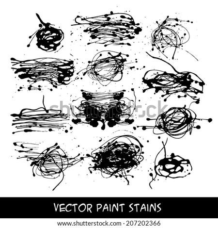 Set of liquid ink stains, vector - stock vector