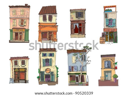set of little buildings - stock vector