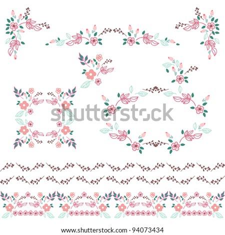 set of little flowers design elements - stock vector