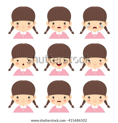 Set of little girl with different emotions isolated on white background. Face expression vector illustration.  - stock vector