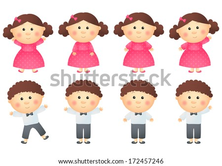 Set of little girls and boys - stock vector