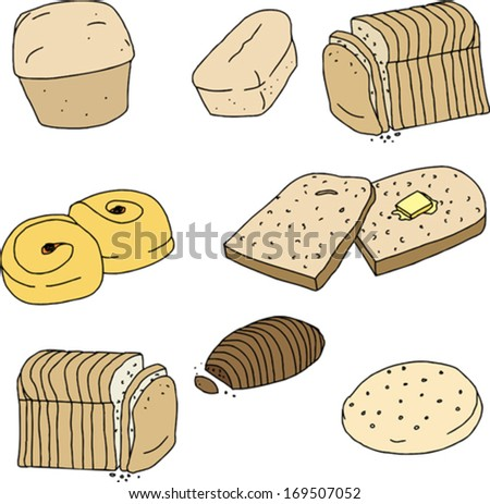 Set of loaves and slices of bread and rolls