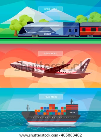 Set of logistics routes banners. Banners with train, plane and ship. Low polygon vector illustrations for logistics use. - stock vector