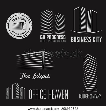 Set of logo and sticker, emblem, label and logotype elements for building company or business  - stock vector