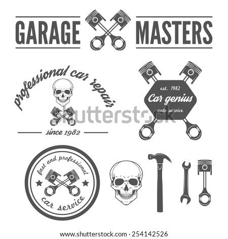 Set of logo, badge, emblem and logotype elements of car repair and auto service - stock vector