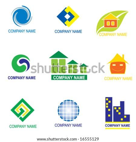 set of logo design - real estate - stock vector