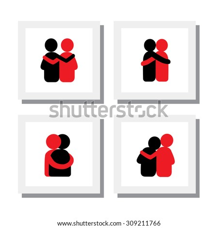 set of logo designs of friends hugging each other - vector icons. this also represents concepts like bonding, close relationship, intimacy and love, brother and sister, lovers, partners - stock vector
