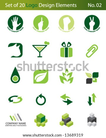 Set of 20 Logo Elements - stock vector