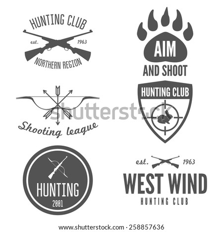 Set of logo, emblem, label or logotype elements for hunting club, shooting club  - stock vector