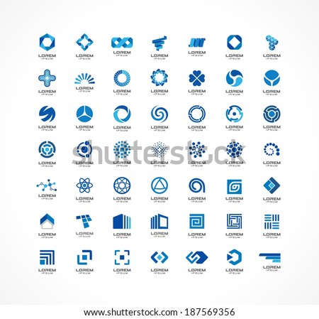 Set of logo icon design elements. Abstract ideas for business company. Finance, communication, technology, science and medical concepts. Pictograms for corporate identity template. Vector logotypes - stock vector