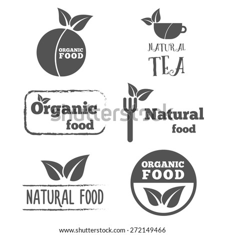 Set of logo, labels, badges, emblems and logotype elements with leafs for web, business corporate identity and other design - stock vector