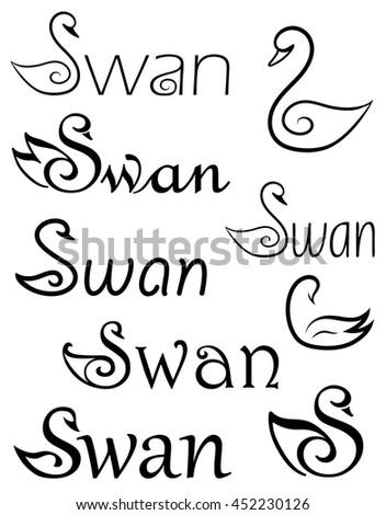 Set of logo swans.  - stock vector