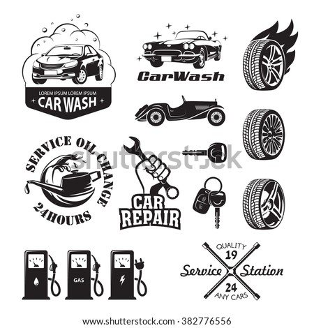 Set of logos and icons relating to service station car (oil change, car wash and polish the car, repair, change of tires, refueling of petrol, gas and electricity) - stock vector