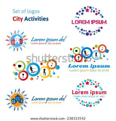 Set of logos city activities. Rest in a city, urban life. Entertainment in the city: concerts, dances, clubs, cafes, restaurants, water skiing, walk in a city. ?ity tourism. Vector illustration. - stock vector