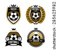 set of logos, emblems on the theme of soccer, football. design concept of football icons. football logo. soccer logo. team logo. league logo. icon logo. ball logo