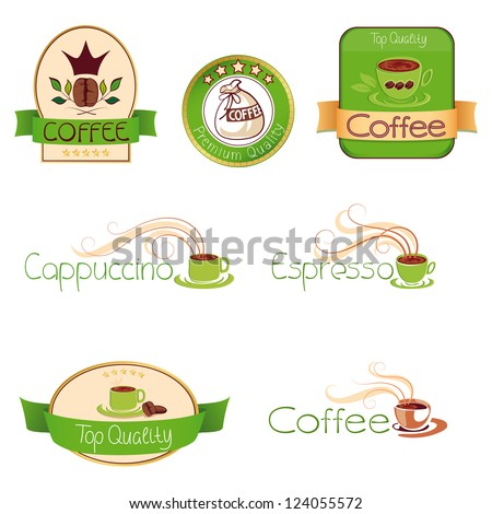 set of logos for coffee,  sketches - stock vector