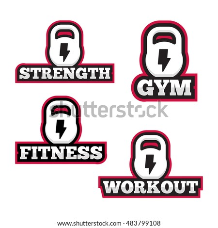 set of logos for sport workout fitness or gym flat vector icon