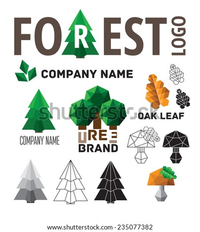 Set of logos forest. Contains conifers, deciduous trees, leaves, mushrooms. - stock vector