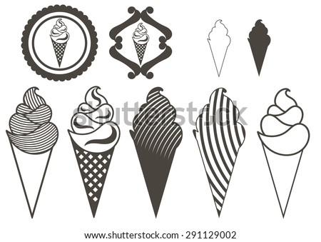 set of logos of ice cream - stock vector