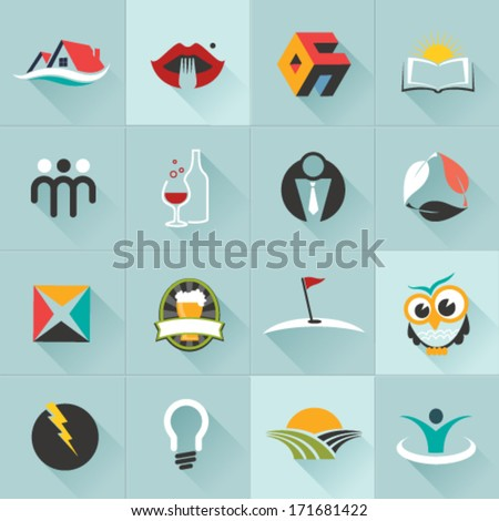 Set of logos, web Icons and business and abstract symbols - Vector Illustration, Graphic Design  - stock vector