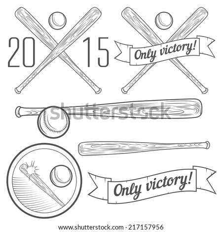 Set of logotypes and elements with baseball bat