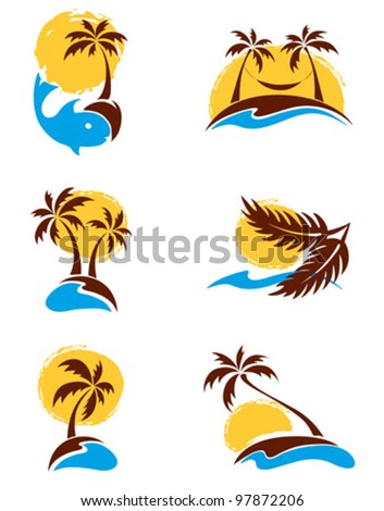Set of logotypes - palm trees - stock vector