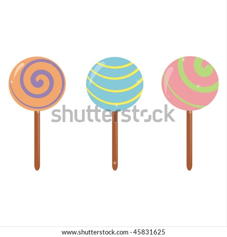 set of 3 lollipops icons