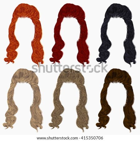 set of long curly hairs  different colors .retro style .high hair styling  - stock vector