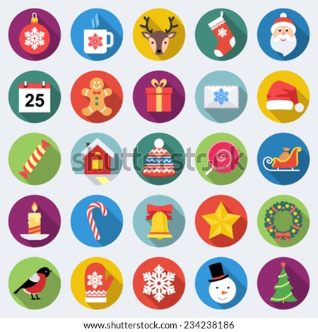 Set of long shadow Christmas icons in flat design with long shadows - stock vector