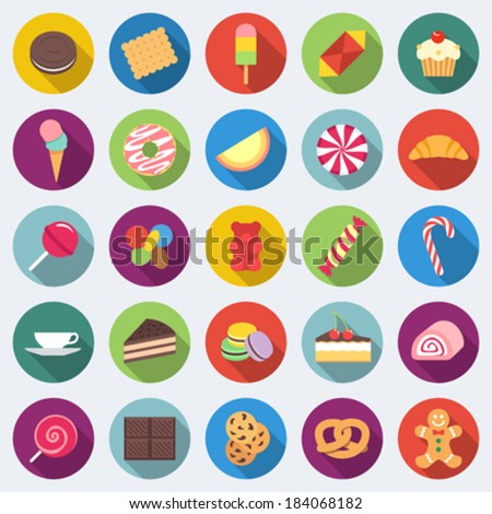 Set of long shadow sweets and candies icons