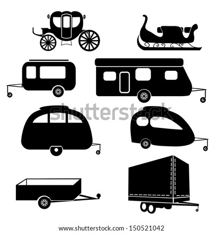 Model Travel Trailer  Camper  RV Silhouette Clip By IDrawSilhouettes